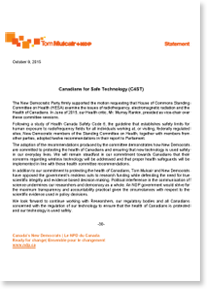 NDP Response Election 2015 Canadians for Safe Technology
